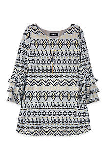Tribal Print Bell Sleeve Dress Girls 7-16