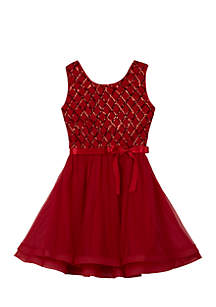 Girls 7-16 Red Sequin Cross Hatch Short Dress