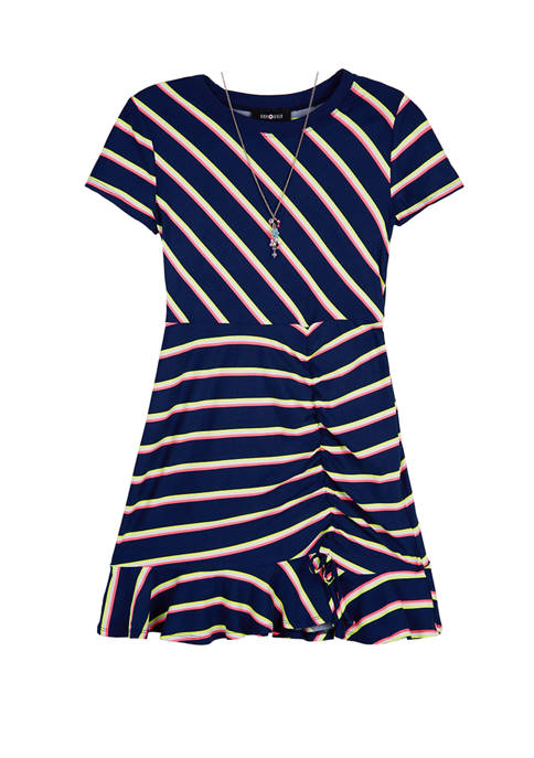 Amy Byer Girls 7-16 Short Sleeve Navy Neon