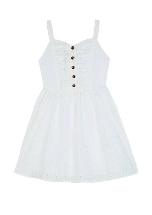 Amy Byer Girls 7-16 Allover Eyelet White Dress