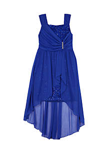 Girls 7-16 Sequin Lace Mock Wrap High Low Overskirt Dress