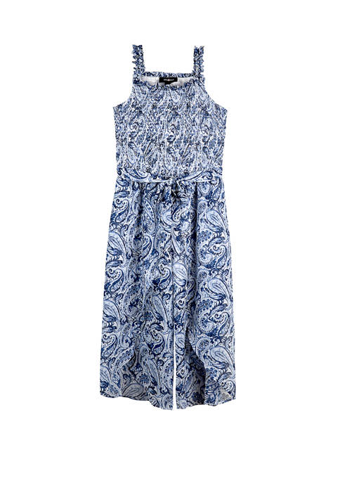 Amy Byer Girls 7-16 Smocked Paisley Maxi Jumpsuit