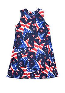 Amy Byer Girls 7-16 Americana Sleeveless Knit Swing Dress