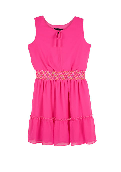 Amy Byer Girls 7-16 Sleeveless Smocked Waist Gauze