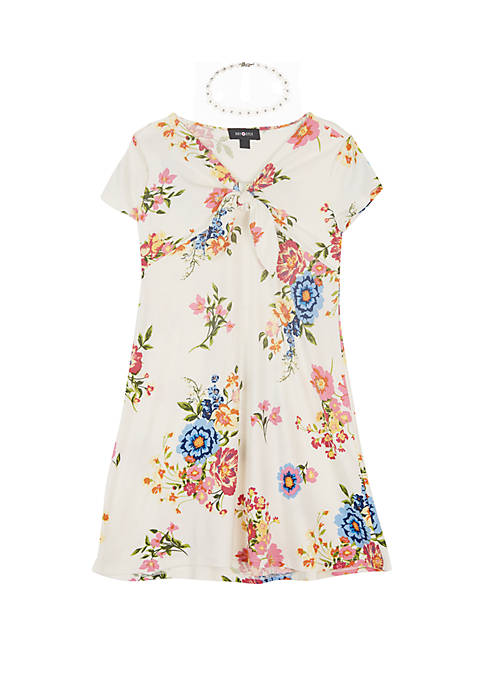 Girls 7-16 Floral Print Knot Front Knit Dress
