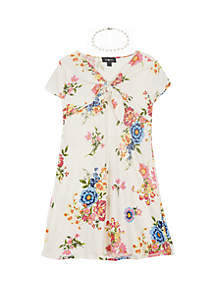 Amy Byer Girls 7-16 Floral Print Knot Front Knit Dress