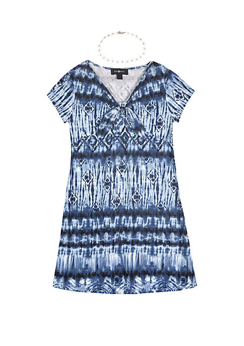 Girls 7-16 Short Sleeve Print Knot Front Knit Dress