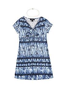 Amy Byer Girls 7-16 Short Sleeve Print Knot Front Knit Dress