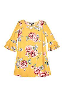 Girls 7-16 3/4 Sleeve Print Knit Swing Dress