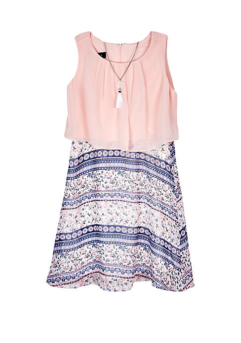 Girls 7-16 Blush Popover Printed Skirt Dress