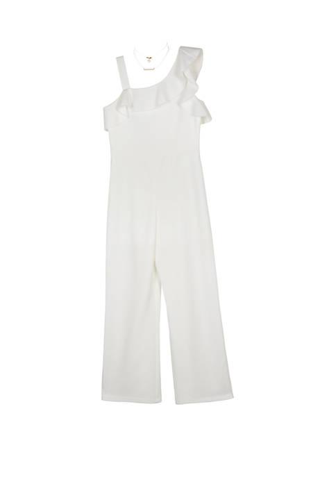 Amy Byer Girls 7-16 Ivory One Shoulder Dressy