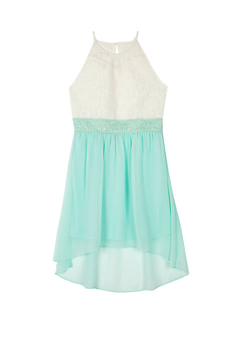 Girls 7-16 High Low White to Mint Halter Dress