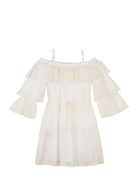 Amy Byer Girls 7-16 White Tiered Sleeve Lace