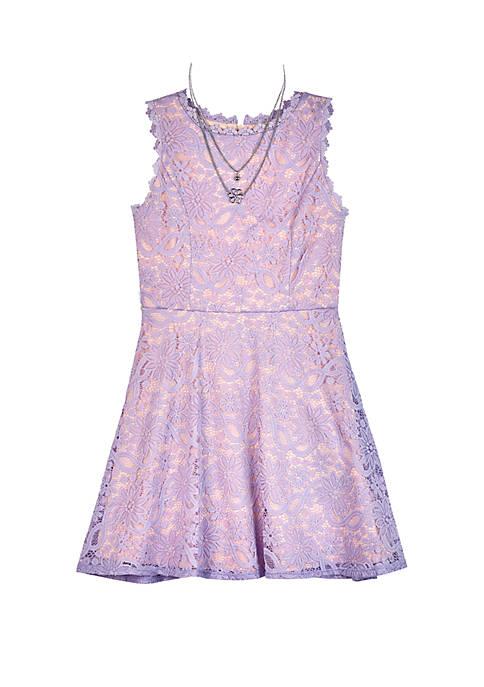 Amy Byer Girls 7-16 Lilac Lace Skater Dress