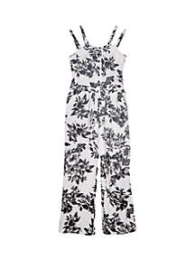 Amy Byer Girls 7-16 Black and White Texture Knit Floral Jumpsuit