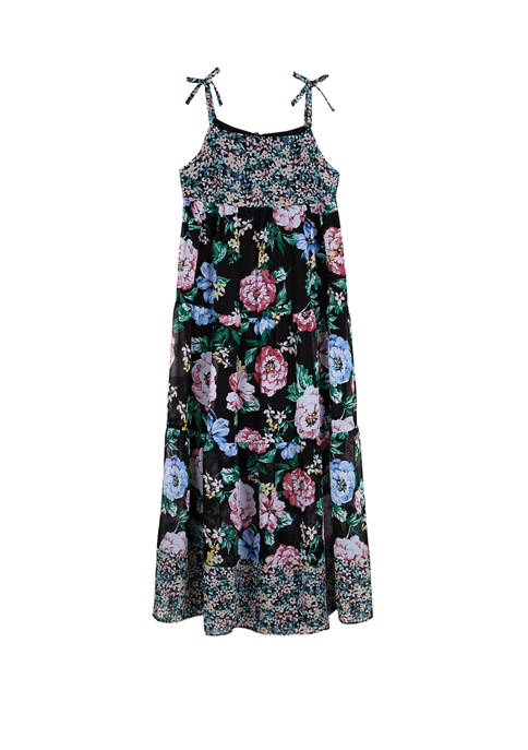 Amy Byer Girls 7-16 Black Floral Tiered Maxi