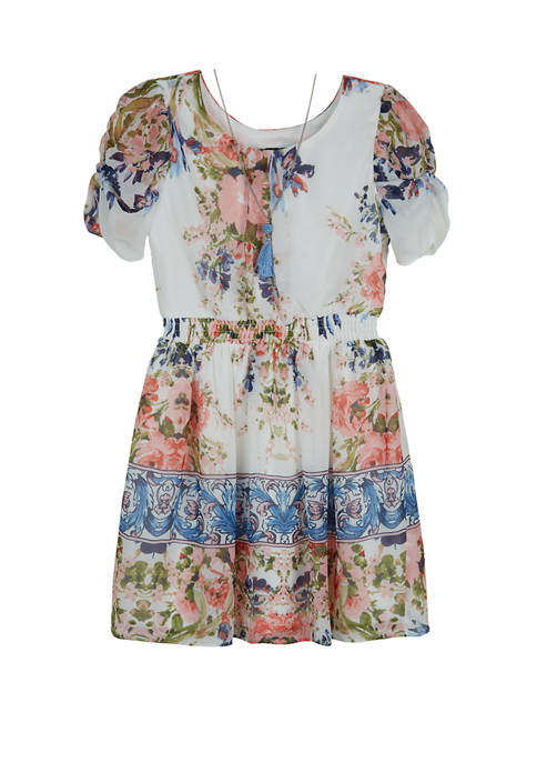 Amy Byer Girls 7-16 Short Sleeve Floral Border