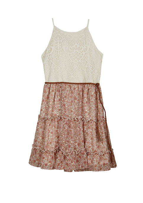 Amy Byer Girls 7-16 Ivory Crochet Top to