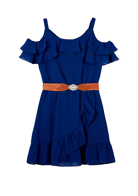 Amy Byer Girls 7-16 Cold Shoulder Belted Solid