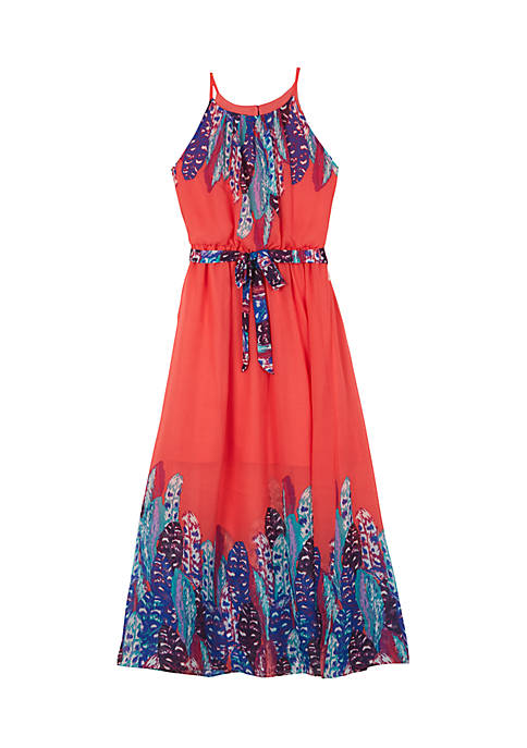 Amy Byer Girls 7-16 Feather Border Maxi Dress