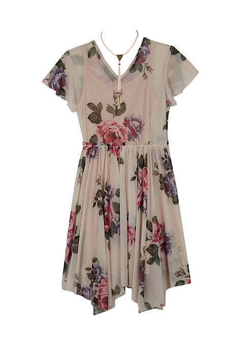 Amy Byer Blush Floral Mesh Shark-Bite Hem Dress
