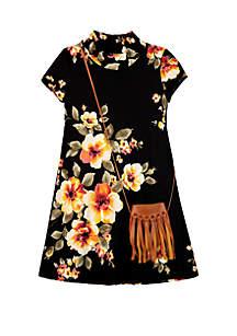 Amy Byer Girls 7-16 Short Sleeve Camo Print Mock Neck Dress