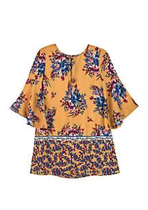 Amy Byer Girls Gold Border Print Shift Dress