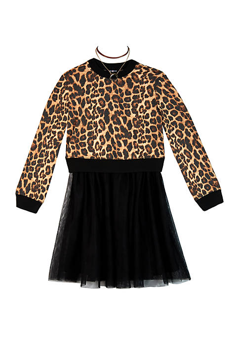 Amy Byer Toddler Girls Cheetah Mesh Dress