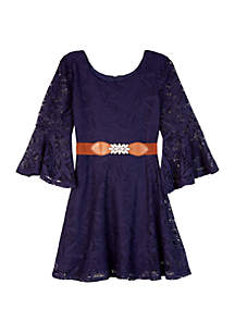 Amy Byer Girls 7-16 Lace Belted Skater Dress