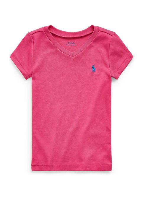 Ralph Lauren Childrenswear Girls 7-16 Cotton-Modal V-Neck Tee