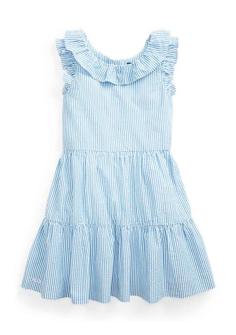 Girls 4-6x Striped Cotton Seersucker Dress