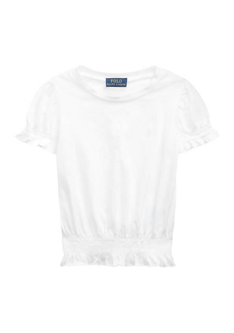 Girls 4-6x Shirred Cotton Jersey Top