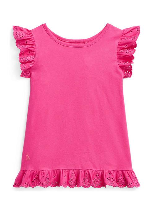 Ralph Lauren Childrenswear Girls 4-6x Eyelet Cotton Jersey