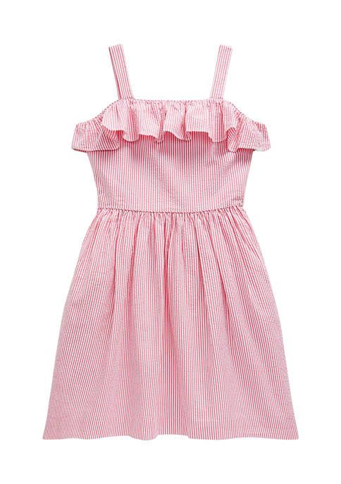 Ralph Lauren Childrenswear Girls 7-16 Striped Cotton Seersucker