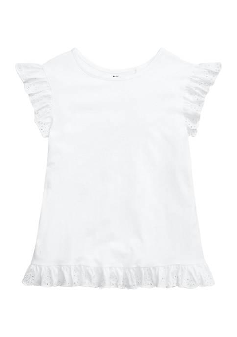 Ralph Lauren Childrenswear Girls 7-16 Eyelet Cotton Jersey
