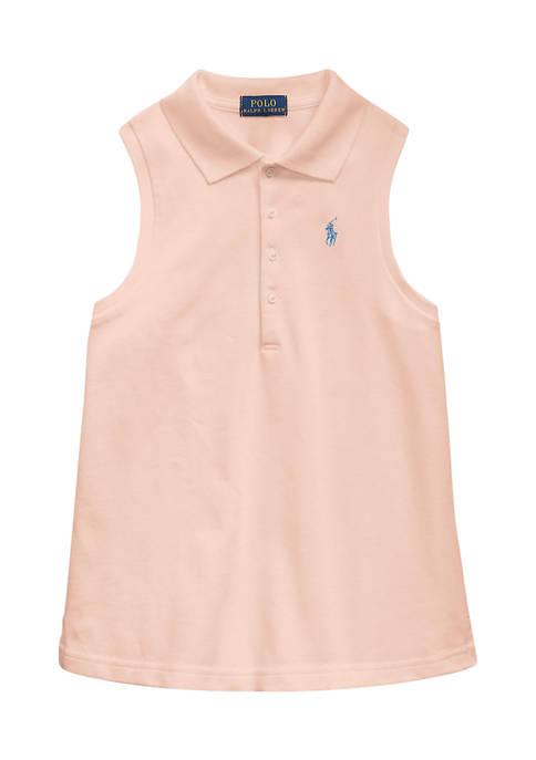 Girls 7-16 Stretch Cotton Mesh Polo Shirt