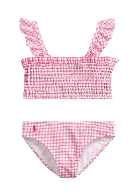 Ralph Lauren Childrenswear Girls 4-6x Gingham Two-Piece Swimsuit