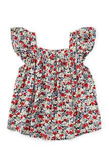 Girls 4-6x Floral Flutter-Sleeve Top
