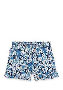 Girls 4-6x Floral Ruffled Challis Shorts
