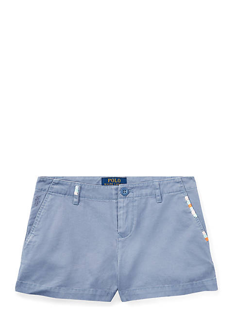 Ralph Lauren Childrenswear Girls 7-16 Embroidered Chino Shorts
