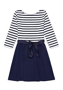 Girls 7-16 Striped Jersey-Ponte Dress