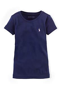 Ralph Lauren Childrenswear Girls 4-6x Cotton Blend Crew Neck T-Shirt