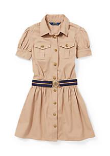 Cotton Twill Shirtdress Girls 4-6x