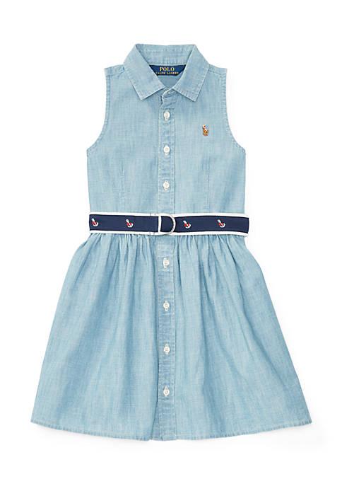 Cotton Chambray Shirtdress Girls 4-6x