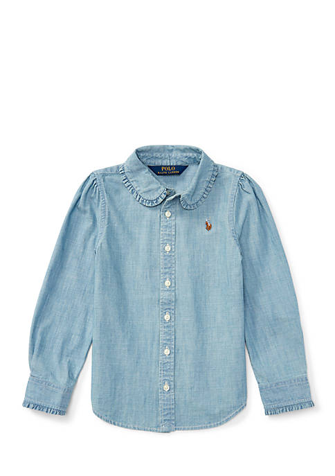 Ralph Lauren Childrenswear Ruffled Cotton Chambray Shirt Girls