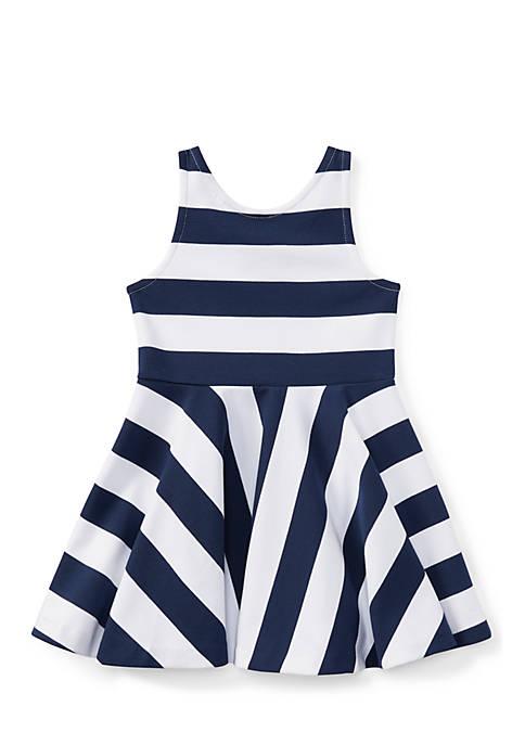 Striped Ponte Sleeveless Dress Girls 4-6x