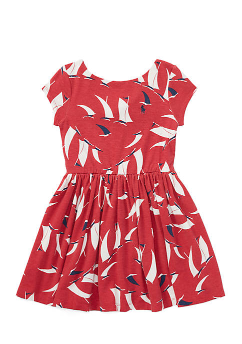 Ralph Lauren Childrenswear Girls 4-6x Sailboat Twist-Back Dress