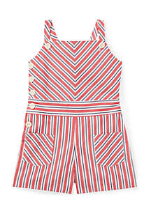 Girls 4-6x Striped Bow-Back Cotton Romper