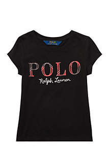 Girls 4-6X Tartan Plaid Polo Jersey T-Shirt