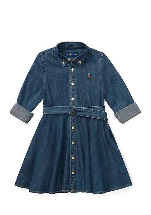 Ralph Lauren Childrenswear Belted Cotton Denim Shirtdress